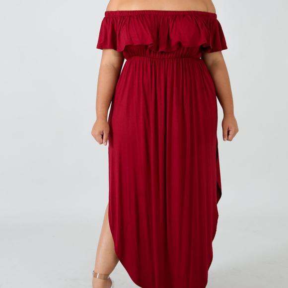 Plus Size Burgundy Red Ruffle Off Shoulder Dress Boutique